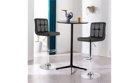 Costway Adjustable Swivel Bar Stool Counter Height Bar Chair PU Leather w/ Back