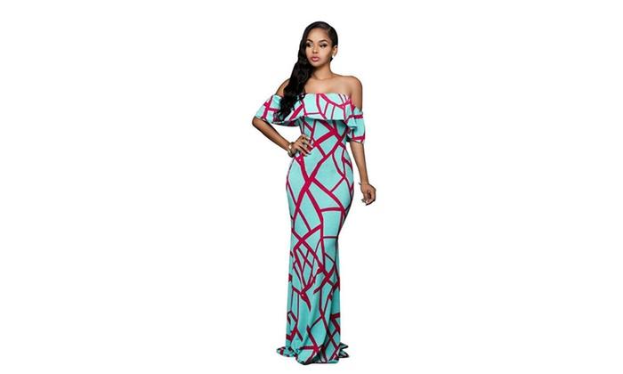 54303a914bdd Women Flouncing Off Shoulder Long Maxi Dress ...