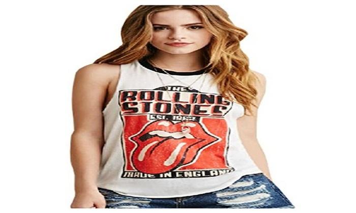 Stylishelf Women's White Rolling Stone Print Sleeveless Tank Top