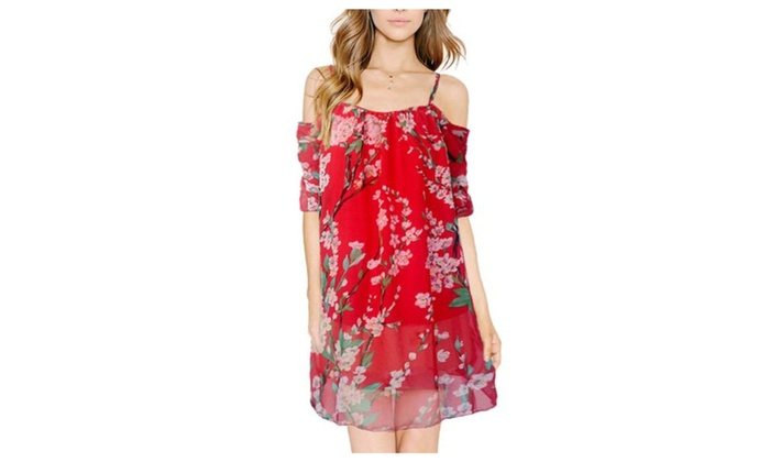 Women's Casual Straight Hem Pullover Dresses - Red / One Size