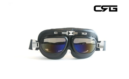 CRG Vintage Bike Aviator Style Motorcycle Cruiser Scooter Goggles T12BRB Deluxe