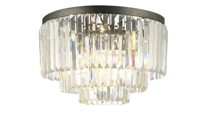 Empress Crystal Glass Fringe 3-tier Flush Chandelier Odeon style