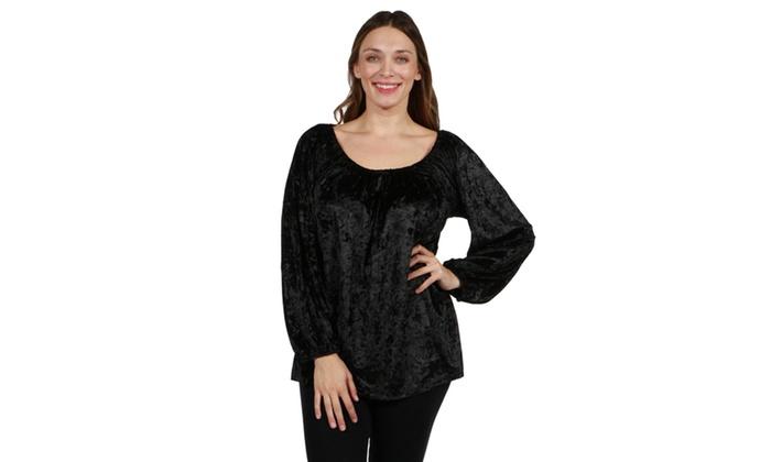 ed3e2fc6c55 24/7 Comfort Apparel Taormina Velvet Plus Size Tunic Top | Groupon