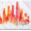 Los Angeles Silhouette - Cityscape Painting Metal Wall Art