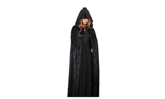 YARBAR Adult Hooded Velvet Long Cloak Cape Halloween Wedding Pagan Witch Wicca Vampire