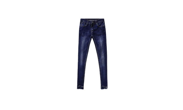 Women's Simple Slim Fit Long Solid Straight Leg Jeans