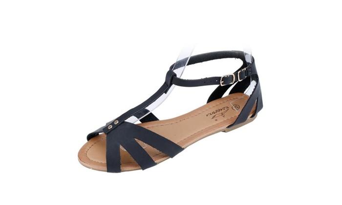 Women's Overlay Patent T-Strap Flat Sandal
