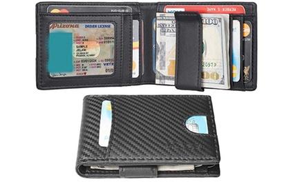Slim Mens Minimalist Wallet Money Clip RFID Blocking Bifold Was: $45 Now: $19.96.