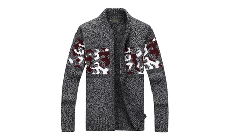 Men's Print Full Zip Chunky Sweater Cardigan with Long Sleeve 5c0b9ad5-563c-47df-a72b-8c9b35e36d98