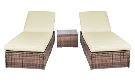 3 Piece Wicker Rattan Chaise Lounge Chair Set Patio Steel Furniture b47a948a-b57c-4ca0-ac27-b05b36bf461f