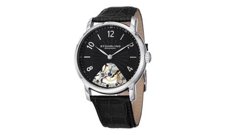 Stuhrling Original Men's Mechanical Skeletonized Genuine Leather Strap Watch fbe39bc9-cec8-4568-a14d-79900a946297