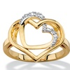 White Diamond Accent 14k Gold-Plated Pave-Style Intertwined Double Heart Ring