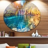 Turquoise Water and Sunny Beams' Landscape Photography Circle Metal Wall Art