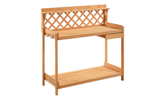 potting bench outdoor garden work bench station planting solid wood - Garden Work Bench