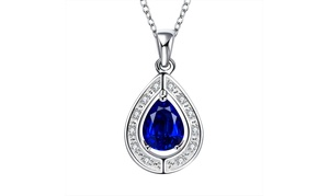 Teardrop Sapphire Oval Cut Pendant Necklace Set in 18K White Gold Plated