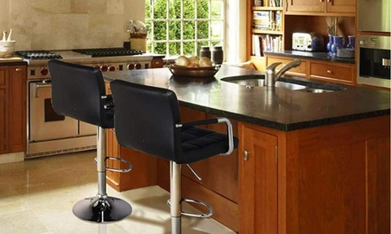 Set of 2 PU Leather Adjustable Swivel Hydraulic Bar Stools with Arm Was: $155 Now: $69.99.