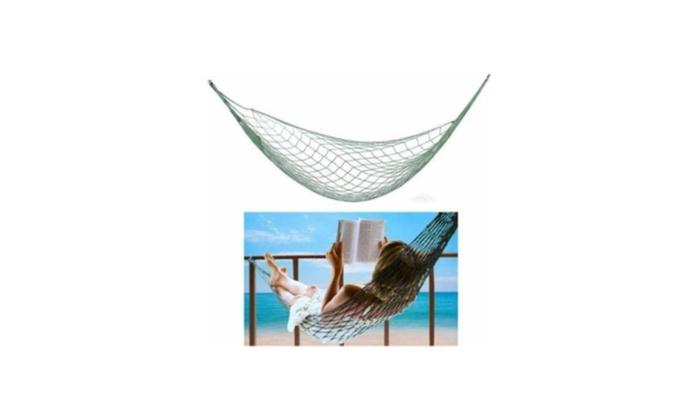 Single Nylon Weave Rope Hammock Swing Lounge Bed 220lb Capacity Blue