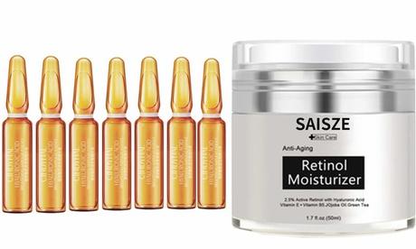 Anti Aging Whitening Moisturizer Set with Hyaluronic Acid Serum & Retinol Cream