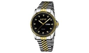 August Steiner Men's Diamond Stainless Steel Bracelet Watch ASGP8047