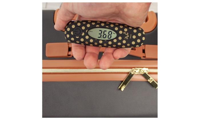 V19.69 Italia Digital Hanging Luggage Scale 50 KG Gold Polka 110 Lbs