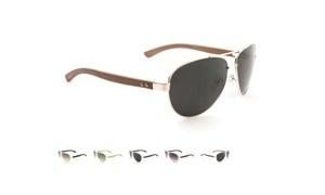 Luxe Premium Metal Aviator Sunglasses with Wood Temples Unisex