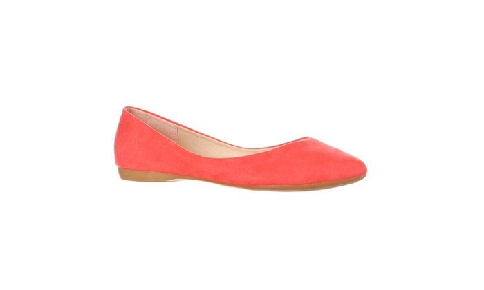 Riverberry 'Ella' Pointed Toe Ballet Flat Slip On, Coral Pink Suede