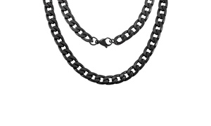 "Men's 24"" Black Stainless Steel Cuban Chain Necklace by Elite Force"