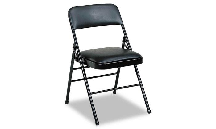Marvelous Samsonite 608830054 Deluxe Vinyl Padded Series Folding Chairs Black V Pdpeps Interior Chair Design Pdpepsorg