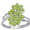Orchid Jewelry Solid Silver 1 3/8 Carat Peridot Cocktail Cluster Ring