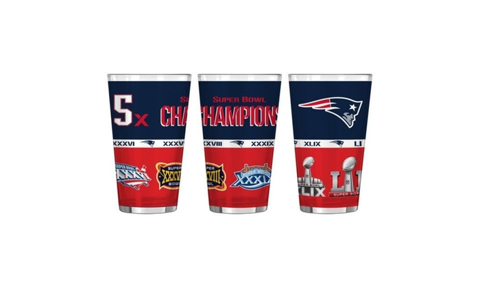 New England Patriots 5X Super Bowl Champions Pint Glass