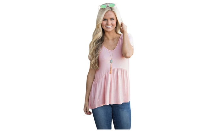 Women's Pink Sweetheart Neckline Babydoll Style T-shirt