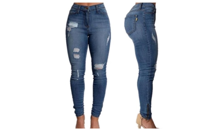 Women's fashion Sexy High Waist Jeans Casual Blue  Jeans Trousers