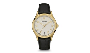 Bulova 97B147 Men's Automatic Gold Watch with Black-Croc Leather Strap