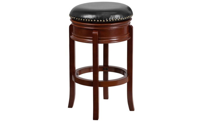 Pleasant 29 Backless Light Cherry Wood Barstool With Black Leather Swivel Seat Short Links Chair Design For Home Short Linksinfo