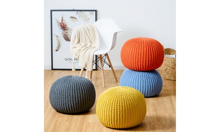 Hand Knitted Pouf Floor Ottoman Footrest Seating 100% Cotton Braid Cord 4 color