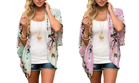 Women's Floral Print Puff Sleeve Cardigan Loose Cover Up Casual Blouse Tops