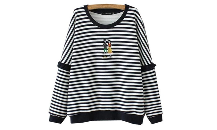 Women's Casual Fashion Long Sleeve Pullover Striped Pullovers