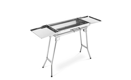 Portable Camping BBQ Grill Stainless Steel Foldable Silver Oven 1d581dfd-2bef-40c9-9d0c-08f5bad9e4c4