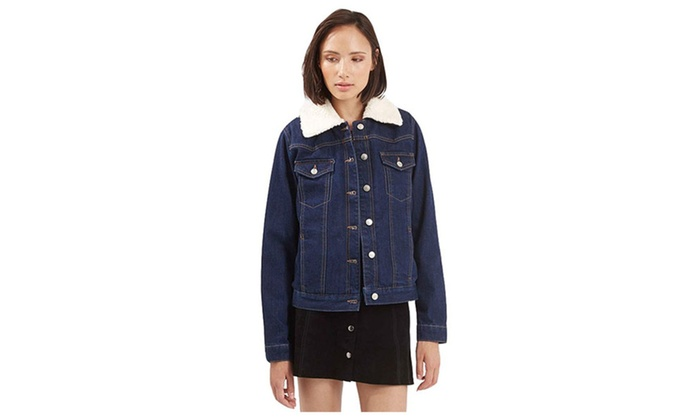 Women's Winter Lamb Wool Embroidered Edging Denim Jacket Coat