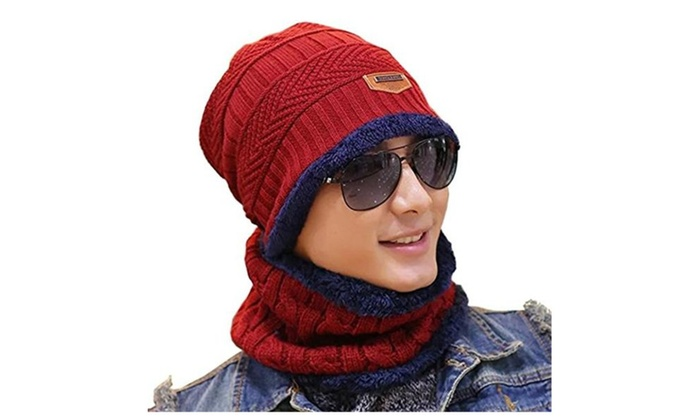 34f69943ea486 Winter Knitting Skull Cap and Scarf Wool Warm Slouchy Beanie Hat ...