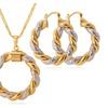 Unique Two Tone Gold ColorNecklace Hoop Earrings Set for Women