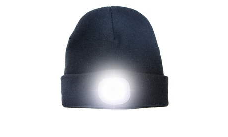 USB Rechargeable LED Headlamp Beanie Hat Winter Warm