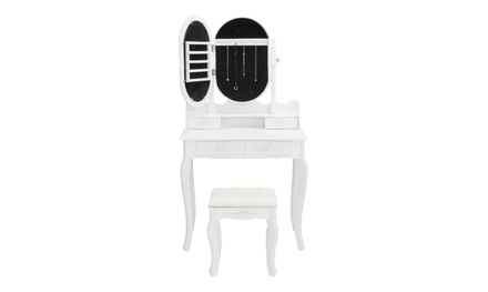Vanity Set w/ Jewelry Mirror Cabinet Makeup Up Dressing Table Desk 4 Drawers