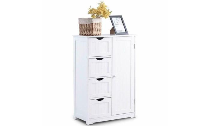 Bathroom Floor Cabinet Wooden Free Standing Storage Organizer w// 4 Drawers White