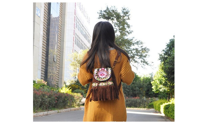 Bohemian Fringe Embroidered Suede Backpack
