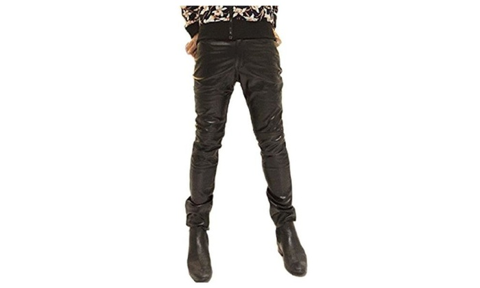 Men's Fashion Skinny Shiny PU Leather Pants Pub Party Casual Trousers