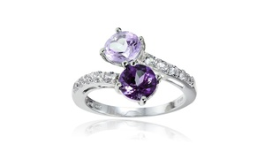 Sterling Silver African Amethyst, Amethyst and White Topaz Friendship Ring