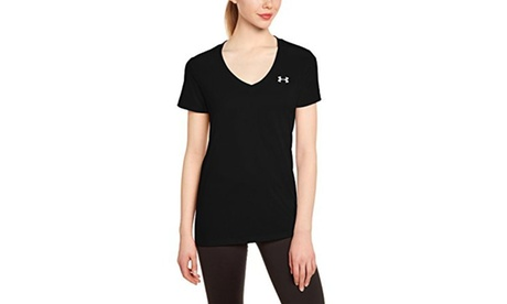 Under Armour Womens Tech V-Neck - XS - Black/Metallic Silver 863ed64c-c75e-40b4-8260-0b97149efb6b