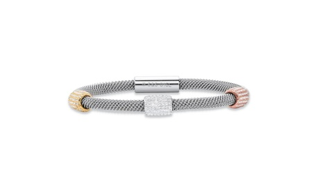 "Crystal Tri-Tone Stainless Steel Cable Bracelet 8"" 563049b9-b7a9-4c46-9ffb-0dd61835f279"