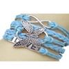 Fashion Leather Vivid Butterflies Friendship Charm Wristband Bracelet
